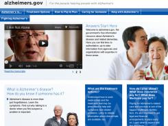 The home page of the Health and Human Services new website alzheimers.gov, where families and caregivers can check for easy-to-understand information about dementia and where to get help.
