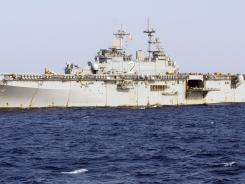 The USS Essex, above, collided with a refueling tanker, the USNS Yukon, in the Pacific Ocean on Wednesday.
