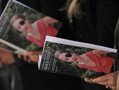 People attend a memorial service for Marie Colvin at St Martin-in-the-Fields church in London on Wednesday. Colvin was killed in Homs, Syria, on Feb. 22.