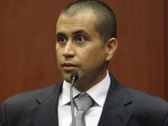 George Zimmerman appears in court during a bond hearing in Sanford, Fla., on April 20.
