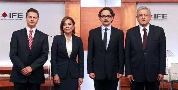 Mexican presidential candidates pose before the first electoral debate on May 6. From left, Enrique Pena Nieto, Josefina Vasquez Mota,Gabriel Cuadri and Andres Manuel Lopez Obrador.