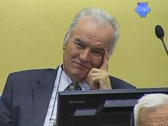 Former Bosnian Serb military commander Gen. Ratko Mladic on the second day of his trial at the Yugoslav war crimes tribunal in The Hague, Netherlands.