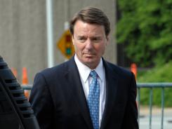 John Edwards arrives at the federal courthouse in Greensboro, N.C., on Friday.