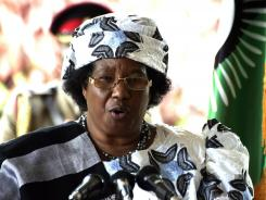 Malawi's President Joyce Banda gives a press conference on April 10, 2012, in Lilongwe, Malawi.