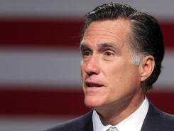 Republican presidential candidate Mitt Romney speaks in Lansing, Mich., on May 8.