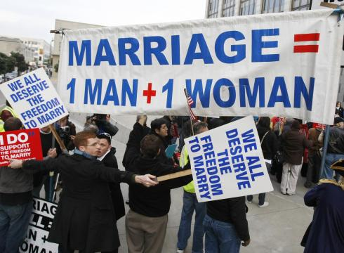 War of words: Demonstrators for and against same-sex marriage protest in San ...