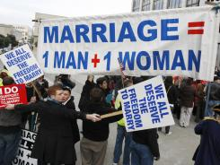 War of words: Demonstrators for and against same-sex marriage protest in San Francisco in 2010. In no state where gay marriage has been put to a popular vote has it passed.