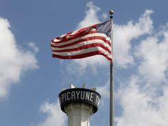 "The tower above the ""Times-Picayune"" newspaper offices is seen in New Orleans on Thursday."