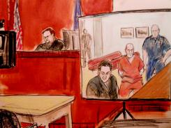 In this courtroom drawing, Pedro Hernandez, second right, is arraigned Friday via closed circuit television from Bellevue Hospital in New York.