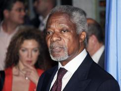 Kofi Annan, special envoy for Syria, speaks after his arrival in Damascus on Monday for talks with Syrian President Bashar Assad.