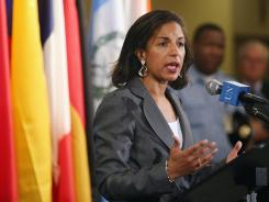 U.S. Ambassador to the United Nations Susan Rice speaks after a U.N. Security Council meeting on Syria held Wednesday.