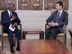 U.N. envoy Kofi Annan, left, meets with Syrian President Bashar Assad on Tuesday in Damascus, Syria.