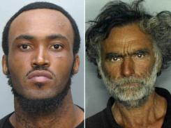 Rudy Eugene, left, was biting the face of Ronald Poppo on Saturday in Miami, police say.