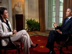 President Barack Obama participates in an interview with Robin Roberts of ABC's Good Morning America in the White House in May. During the interview, President Obama expressed his support for gay marriage.