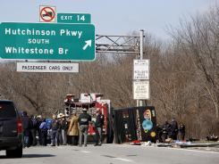 March 2011: The aftermath of a bus crash on I-95 in New York.