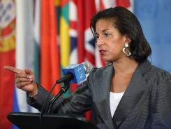 Susan Rice, U.S. ambassador to the United Nations, speaks to the news media after a meeting on Syria on Wednesday in New York City.