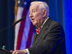 Former U.S. Supreme Court Justice John Paul Stevens speaks in Little Rock, Ark., on Wednesday.