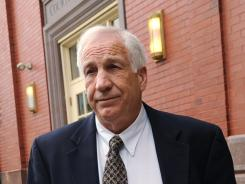 Jerry Sandusky leaves the Centre County Courthouse Annex in Bellefonte, Pa.