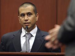 George Zimmerman answers a question during an April 20 bond hearing in Sanford, Fla.