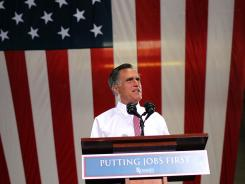 Mitt Romney speaks during a campaign rally on Tuesday in Las Vegas, Nev.