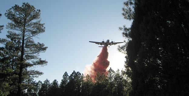 Fire retardant is dropped on a wildfire from a plane in the Gila National Forest in New Mexico.