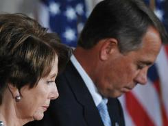 Not eye-to-eye: House Republican leader John Boehner and House Democratic leader Nancy Pelosi.