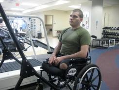 Sean Adams will be fitted for a set of artificial legs at Walter Reed Military Medical Center.