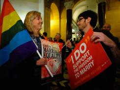 Jane Wishon, left, and Aron Klein celebrate at Los Angeles City Hall in February after an appeals court ruled that the voter-approved Proposition 8 was unconstitutional. A federal appeals court refused Tuesday to reconsider the ruling.