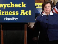 Sen. Barbara Mikulski, D-Md., hosts a news conference about the Paycheck Fairness Act at the U.S. Capitol on May 23.