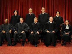 The top: From left, Clarence Thomas, Sonia Sotomayor, Antonin Scalia, Stephen Breyer, John Roberts, Samuel Alito, Anthony Kennedy, Elena Kagan, Ruth Bader Ginsburg.