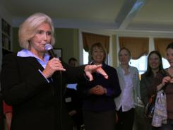 Lilly Ledbetter, whose lawsuit led to the federal pay equity law that bears her name, speaks at a &quot;Women for Obama&quot; house party in Concord, N.H., on April 30.