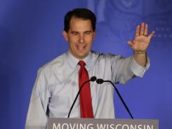 Wisconsin Gov. Scott Walker speaks to supporters at his victory party on Tuesday in Waukesha, Wis.