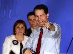 Wisconsin Republican Gov. Scott Walker reacts at his victory party Tuesday night in Waukesha, Wis. Walker defeated Democratic challenger Tom Barrett in a special recall election.