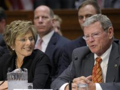 "Her ""hero"": Sen. Barbara Boxer, D-Calif., and Sen. James Inhofe, R-Okla., collaborated on transportation legislation this spring."
