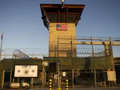 "The front gate of ""Camp Six"" detention facility at the U.S. Naval Station in Guantanamo Bay, Cuba."
