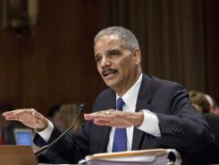 Attorney General Eric Holder testifies before the Senate Judiciary Committee on Tuesday.