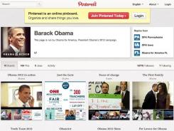 "The Obama campaign: Pinterest account has boards including recipes, ""Pet Lovers for Obama"" and ""Joe Biden on the Road."""