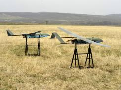 Unmanned drones are seen before a test flight.