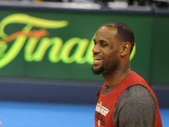 Miami Heat's LeBron James practices at the Chesapeake Energy Arena in Oklahoma City on Wednesday.