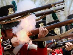 Re-enactors, pictured on May 6 in Ontario, Canada, stage the Battle of Longwoods. The original occurred March 4, 1814.