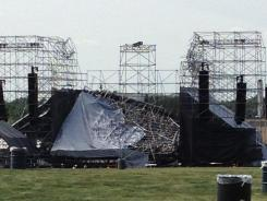 A stage remains collapsed at a Radiohead concert Saturday in Toronto.