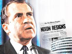 The Watergate break-in took place 40 years ago Sunday and led to the Aug. 9, 1974, resignation of President Richard M. Nixon, shown in this photo illustration.