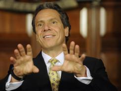 New York Gov. Andrew Cuomo speaks during a news conference at the Capitol in Albany, N.Y., earlier this month. Cuomo is proposing the decriminalization of the possession of small amounts of marijuana in public view.