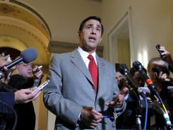 Rep. Darrell Issa, R-Calif., speaks to reporters after meeting with Attorney General Eric Holder Tuesday on Capitol Hill.