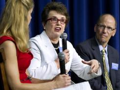 Billie Jean King, center, speaks during a gathering Wednesday at the White House to celebrate the 40th anniversary of Title IX.