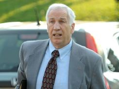 Jerry Sandusky arrives for closing arguments of his sex-abuse trial at the Centre County Courthouse in Bellefonte, Pa., on Thursday.