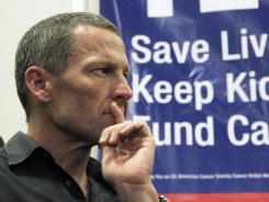 Lance Armstrong attends a rally at Children's Hospital in Los Angeles in favor of Proposition 29 on May 11.