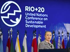 U.S. Secretary of State Hillary Rodham Clinton speaks at the United Nations Conference on Sustainable Development, or Rio+20, in Rio de Janeiro, Brazil, June 22.