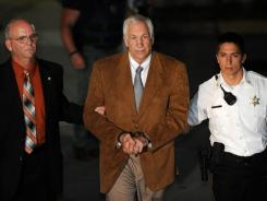 Jerry Sandusky leaves the courthouse Friday in Bellefonte, Pa.