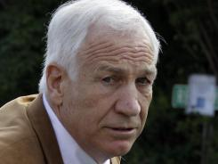 Former Penn State University assistant football coach Jerry Sandusky arrives at the Centre County Courthouse in Bellefonte, Pa. on Friday.
